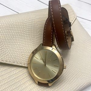Michael Kors gold & leather wrap watch